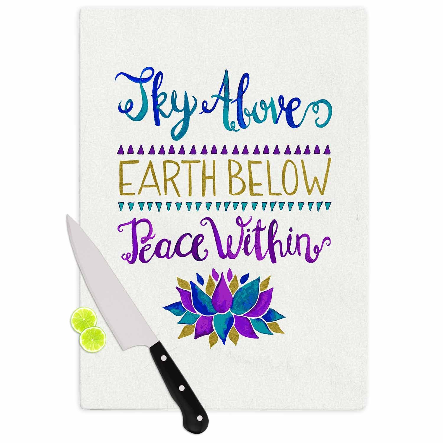 11.5 x 8.25 KESS InHouse Pom Graphic DesignSky Above Peace Within Purple Blue Typography Cutting Board Multicolor