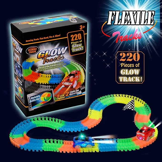 ZiChuangWen Track Toys Race Tracks with 220 Pieces Flexible Tracks Glow in The Dark,2 Cars Track with Flashing LED Race Cars for Children's Gift