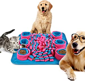 AXUAN Dog Food Mat, Snuffle Mat for Dogs, Great for Stress Relief & Pet Slow Feeding Training, Pets Puzzle Interactive Toys Activity Feeder Mat for Small or Large Cats and Dogs Indoor Outdoor