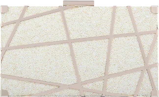 Fawziya Metallic Clutch Glitter Bags For Women's Clutches & Evening Bags-Beige:  Handbags: Amazon.com