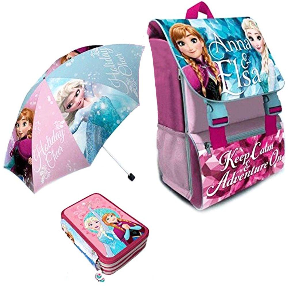 Kit Scuola 3 in 1 School Promo Pack Zaino Estensibile + Astuccio 3 Zip Accessoriato + Ombrello Salvaspazio Disney Frozen Anna e Elsa Edizione Nuova BAK-FROZEN-2018