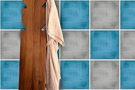 Wandaufkleber Blau Und Grau Fliesen Wand Badezimmer Deko Ideen