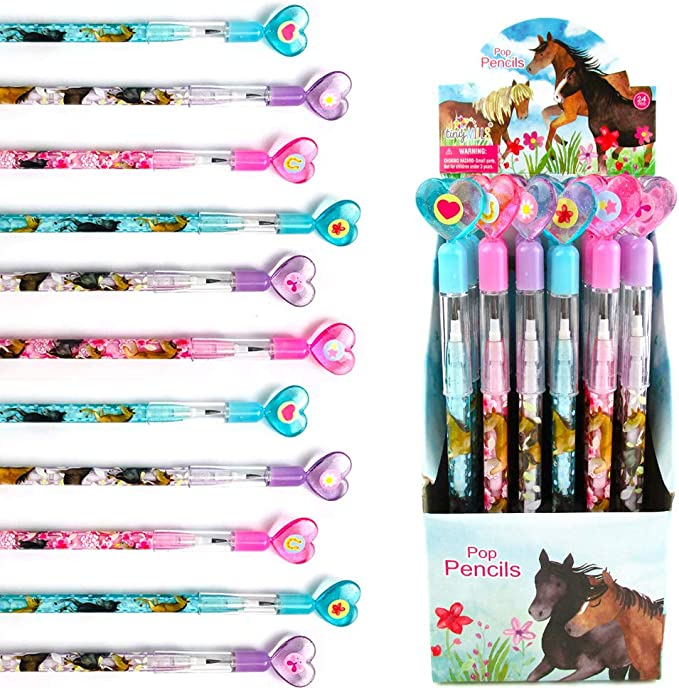 Tinymills 24 Pcs Horse And Pony Multi Point Stackable Push Pencil Assortment With Eraser For Horse Western Birthday Party Favor Prize Carnival Goodie Bag Stuffers Classroom Rewards Pinata Fillers Office Products