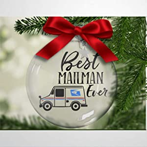 Best Mailman Ever Silver Charm Postal Worker Mail Delivery Letter Carrier Express Service Package Delivery Christmas Ball Ornaments Shatterproof Christmas Decor Tree Balls for Holiday Wedding Party