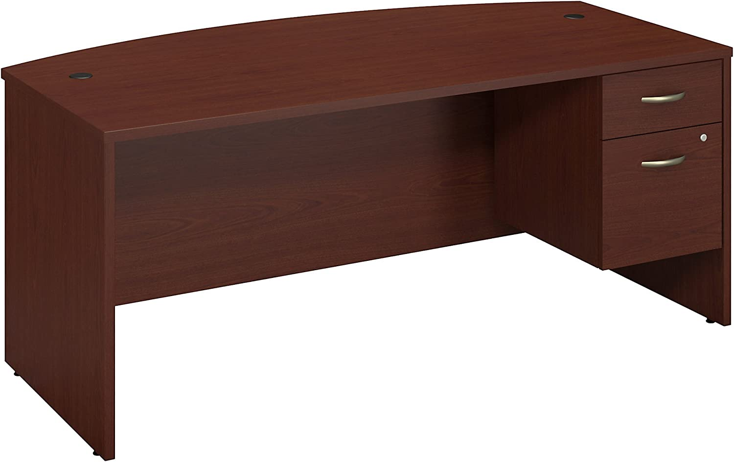 Bush Business Furniture Series C Collection 72W X 36D Bow Front Desk with 3/4 Pedestal in Mahogany