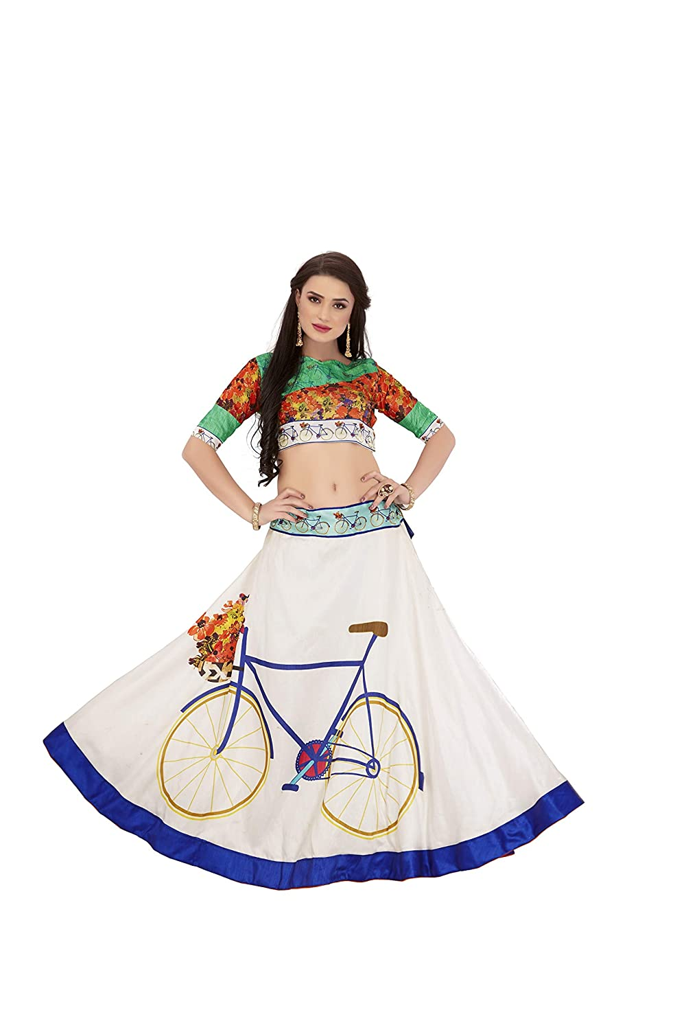 Naari Vastram Women's Banglori Satin Printed Lehenga Choli (BLUE_CYCLE_white_Free Size