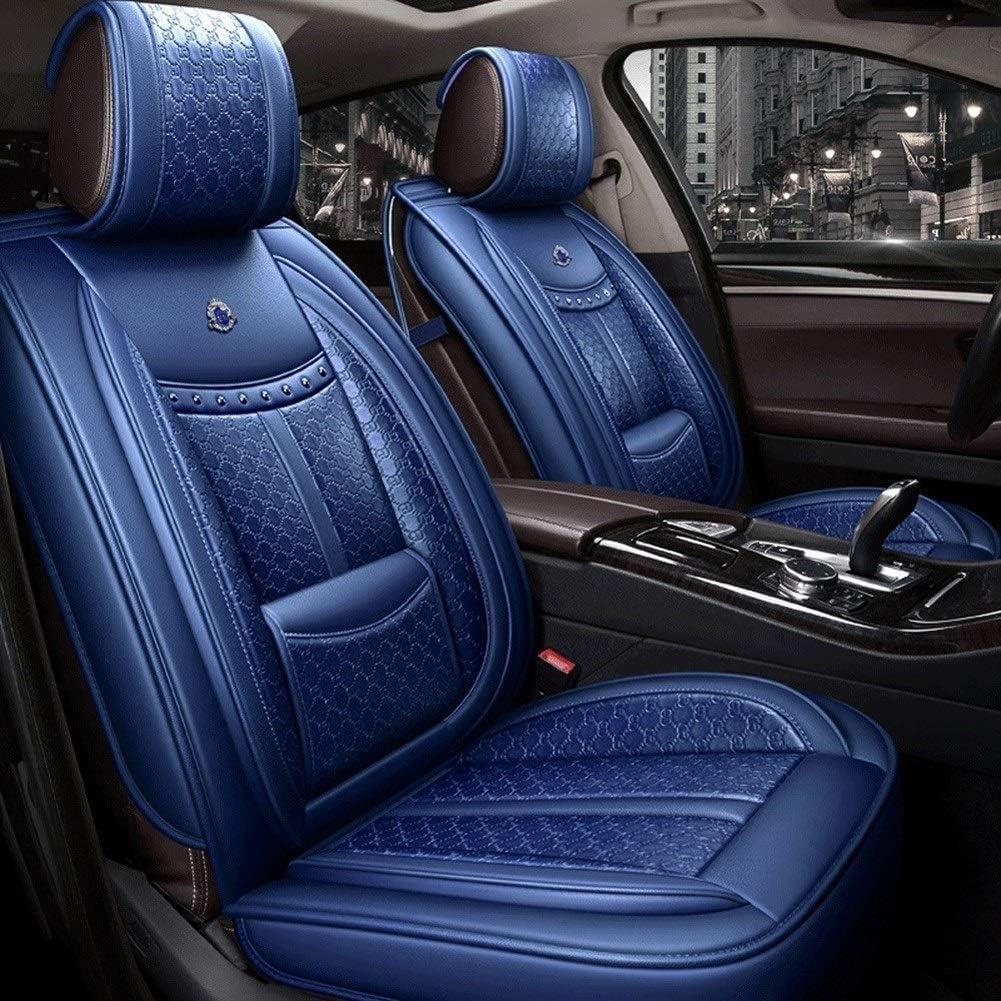 HUJPI カーシートカバー、カーシートカバーレザーエアバッグ互換性、5シート運転席カバー滑り止めカーシートカバーフルセット,Blue