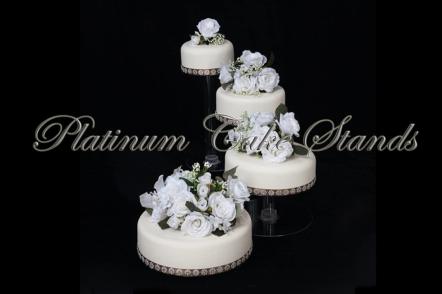 Amazon.com | 4 Tier Clear Spiral Cascade Wedding Cake Stand (STYLE ...
