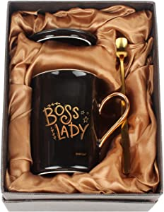 WHATCHA Boss Lady Black Gold Funny Coffee Mugs Office Merchandise Gift Idea for Boss lady Her on Birthday Christmas Boss's Day Ceramic Novelty Tea Cups 11oz