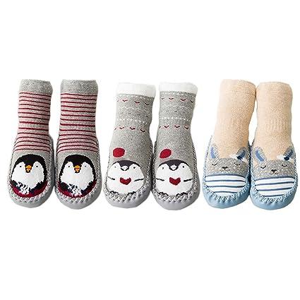 3f00c6b5f491f FYGOOD Lot de 3 Paires Pantoufles Chaussettes Anti-dérapantes Chaussons  Premier Pas Bébé Unisex gris