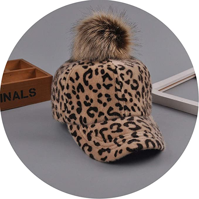 f23049fd02db Image Unavailable. Image not available for. Color: World-Palm New Leopard  Fur Ball Baseball Cap for Women Winter Autumn ...