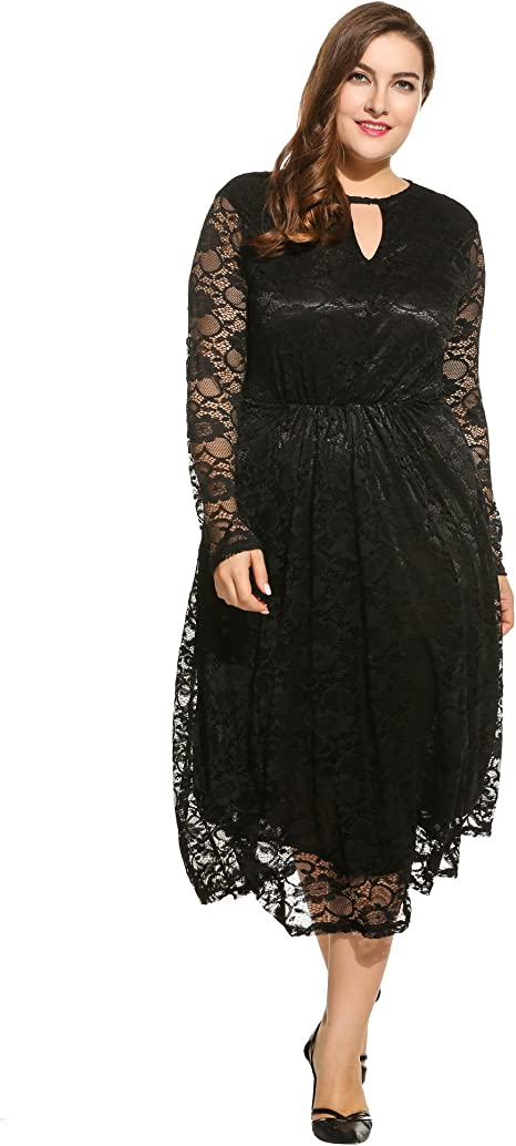 Meaneor Women\'s Plus Size Floral Lace Dress Long Sleeve Bridal Formal Dress