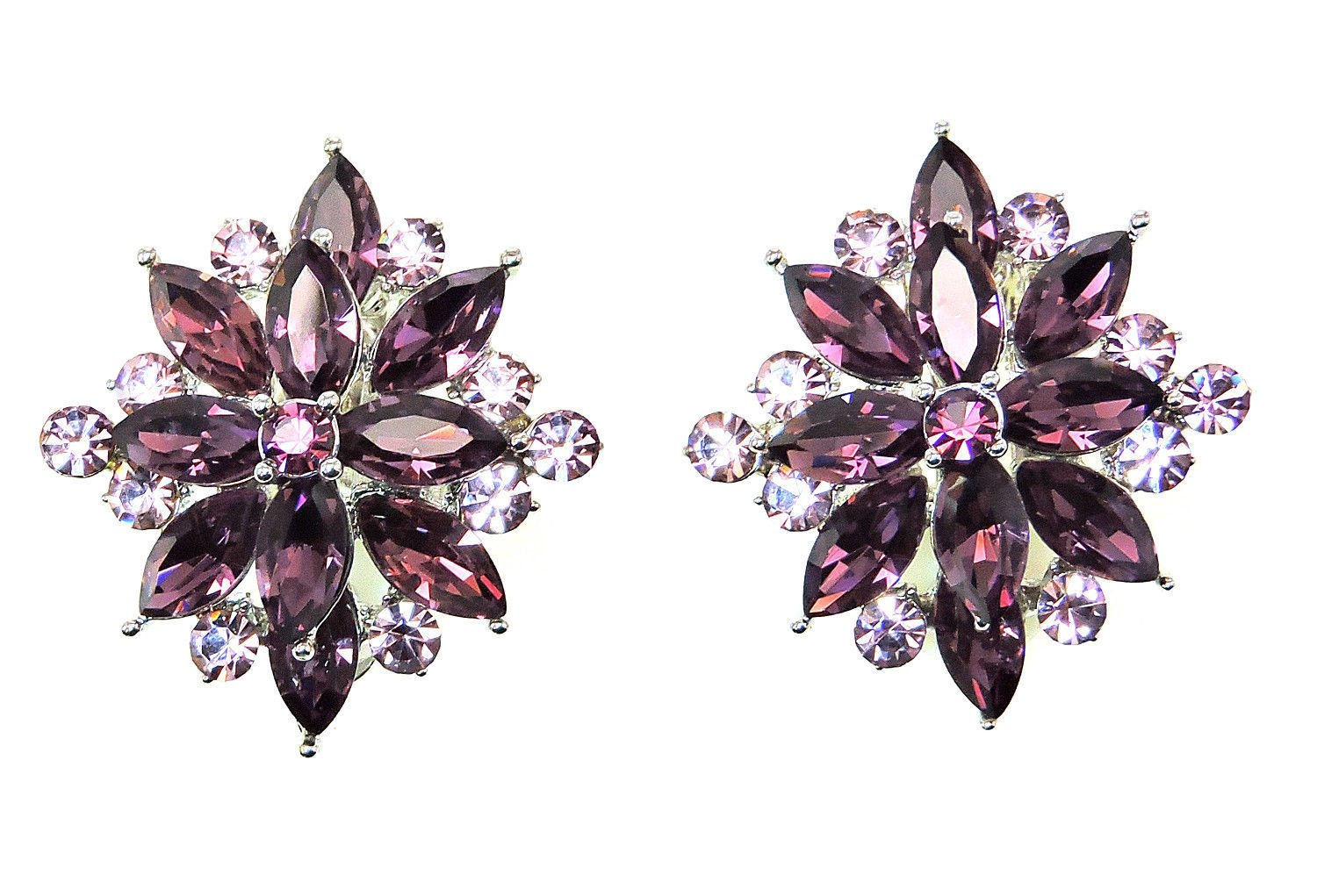 Faship Stunning Purple Crystal Clip On Style Earrings