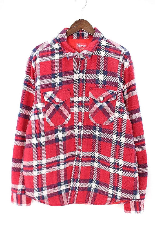 (シュプリーム) SUPREME 【17AW】【Quilted Arc Logo Flannel Shirt】キルテッドアーチロゴフランネル長袖シャツ(L/レッド×ネイビー) 中古 B07FVMSXJ9  -