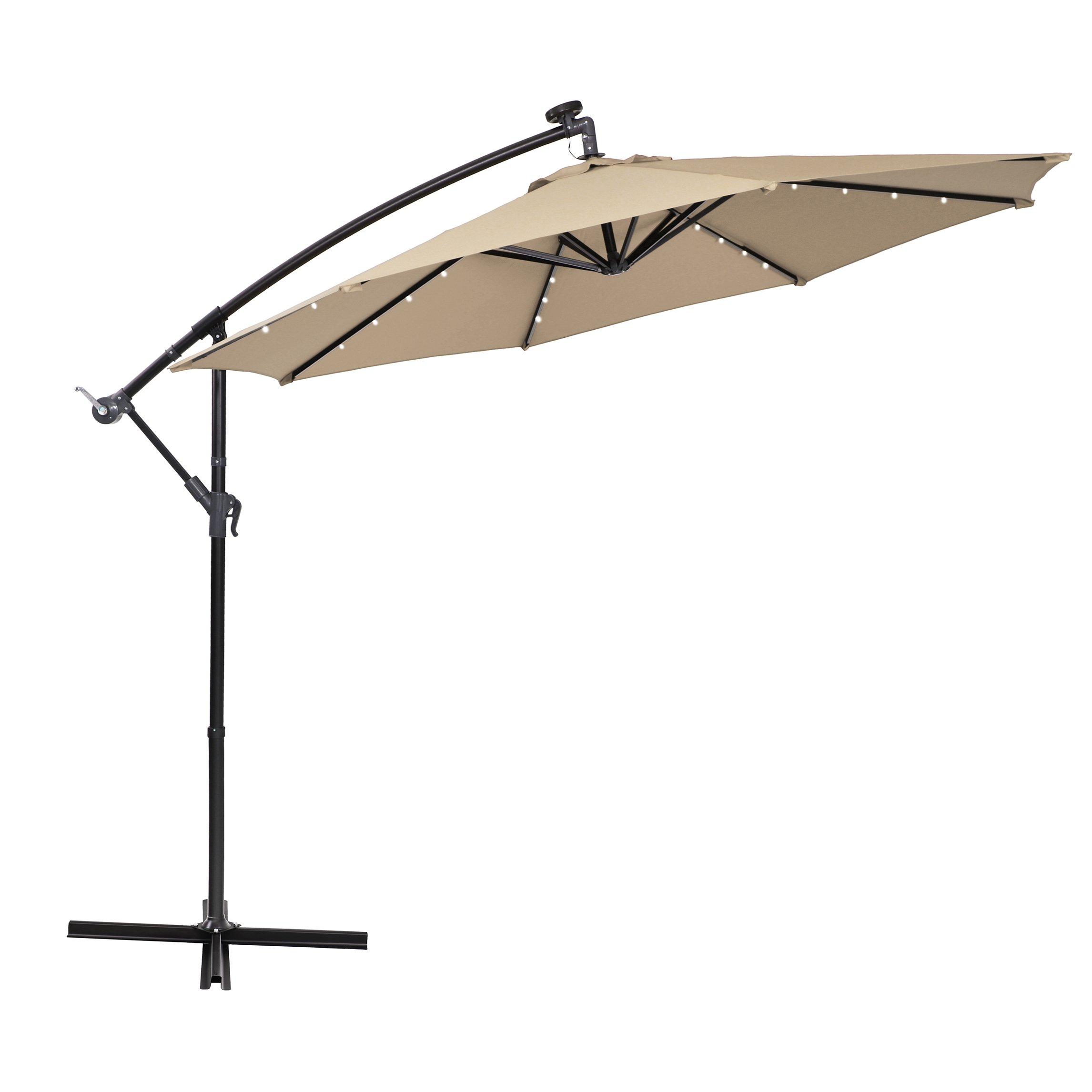 PHI VILLA 10ft Offset Hanging Umbrella with 32 PCS LED Lights Solar Powered Patio Umbrella with Crossbase, 8 Ribs, Beige