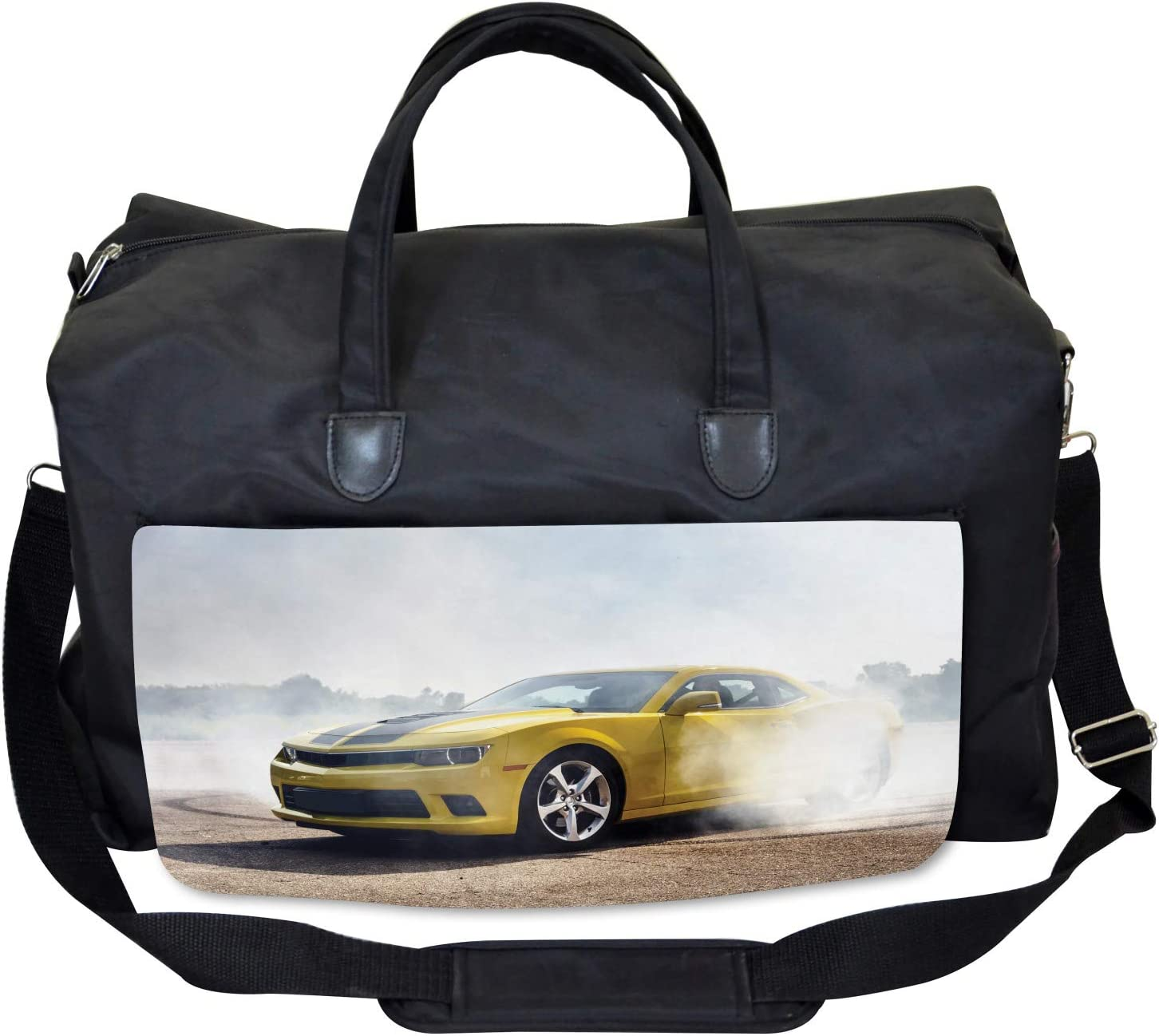 Ambesonne Cars Gym Bag Racing Sports Drifting Men Large Weekender Carry-on