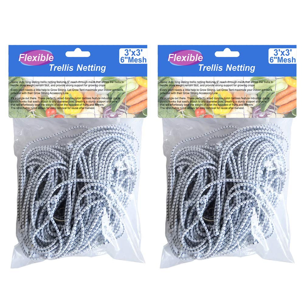 BloomGrow 2PCS 3FTx3FT Heavy-Duty Flexible Elastic Trellis Netting Trellis Net Plant Support Net for Grow Tents Support for Climbing, Fruits, Vegetables and Flower 2 PCS