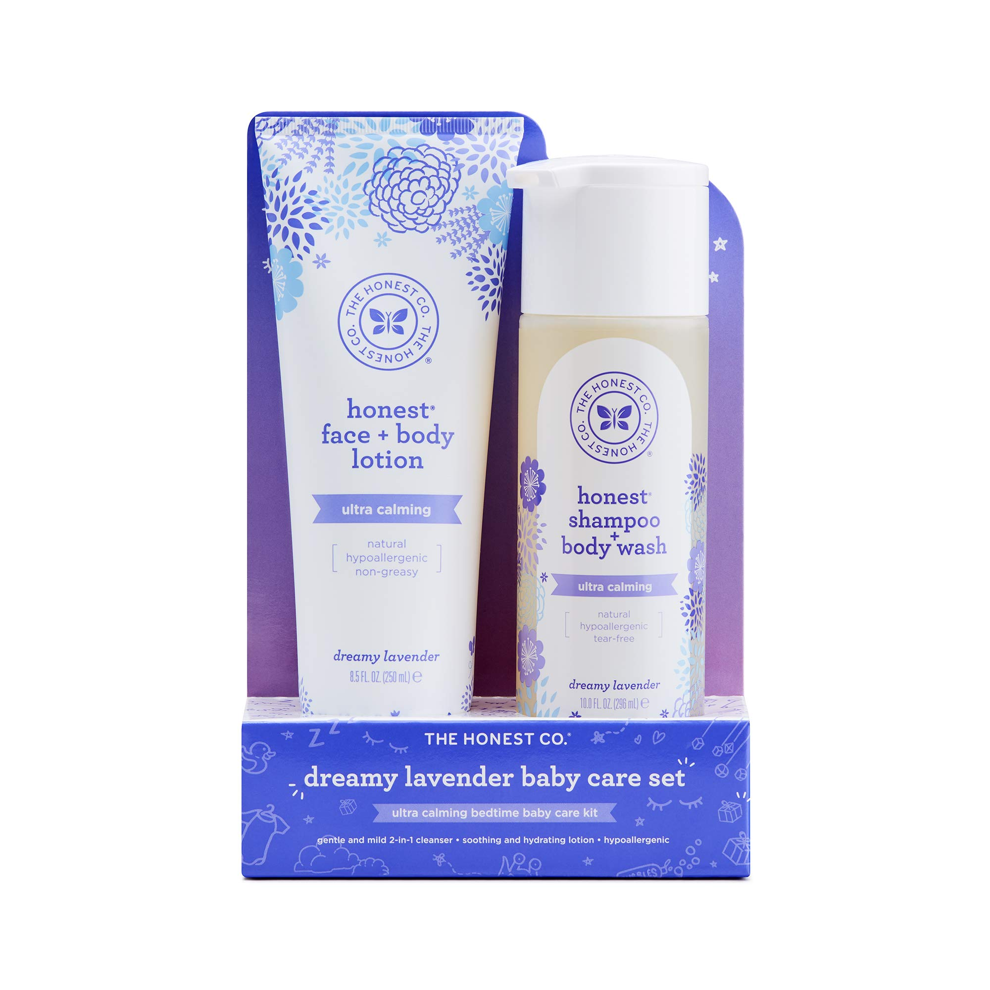 The Honest Company 2-Piece Dreamy Lavender Shampoo + Body Wash (10 fl. oz) & Face + Body Lotion (8.5 fl. oz.) Bundle | Tear Free | Naturally Derived Ingredients | Sulfate & Paraben Free Baby Bath by The Honest Company
