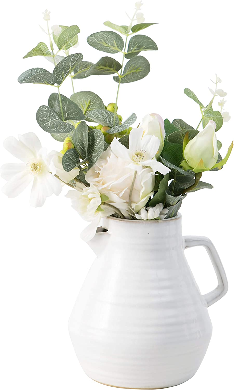 Jojuno Elegant Ceramic Glazed Flower Pots with Handle. White Decorative Vases & Water Pitcher, Fine Porcelain Flower Holder Arrangements Home Office Décor, 7