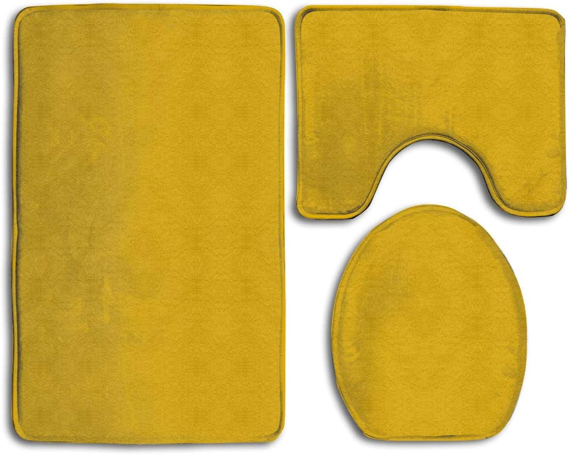 Amazon Com Lyir Mustard Yellow Toilet Carpet Fashion Bathroom Rug Mats Set 3 Piece Anti Skid Pads Bath Mat Contour Toilet Lid Cover Kitchen Dining