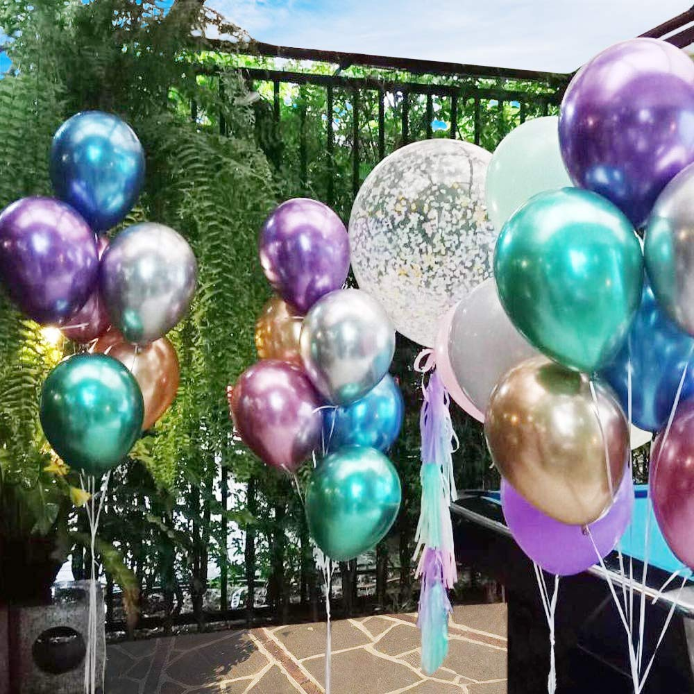 Cettkowns 50-Pack 12 Latex Metallic Balloons for Wedding Birthday Baby Shower Christmas Festival Anniversary Party Picnic or any Friends /& Family Party Decorations Metallic Blue