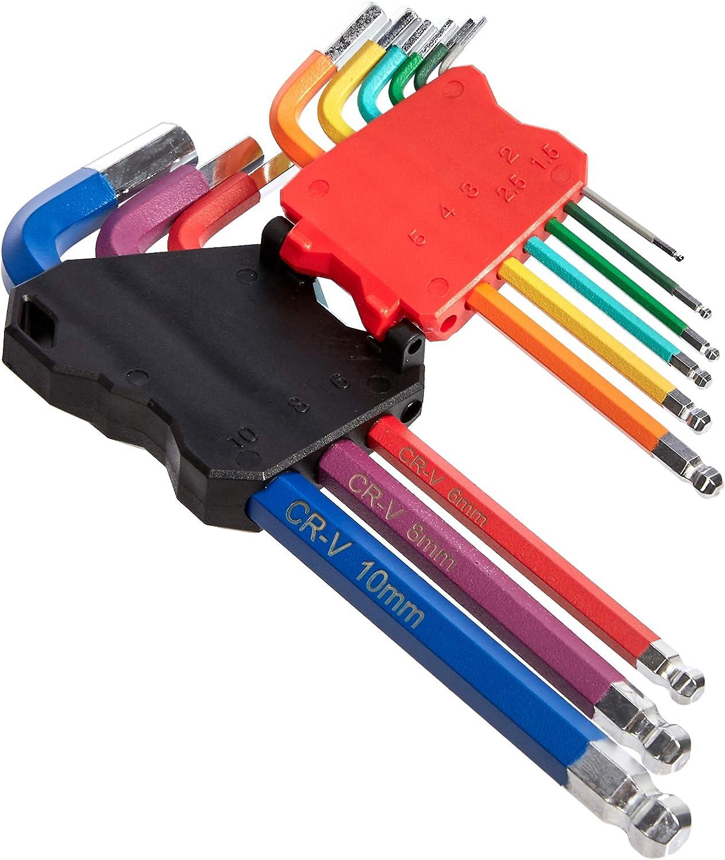 ColorGuard 10 mm Juego de llaves Allen con mango largo y extremos esf/éricos 9 piezas Basics 1,5 mm