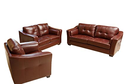 Abbyson Living Crimson Italian Leather Sofa/Loveseat/Chair, Burgundy