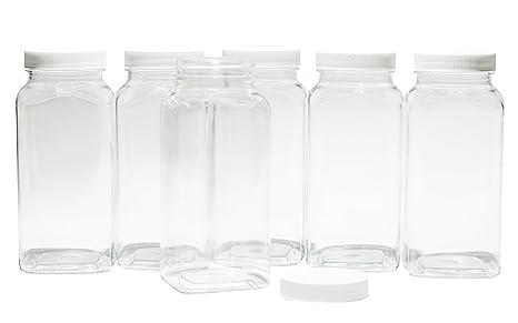 Amazon.com: Plástico transparente cuadrado Baire botellas ...