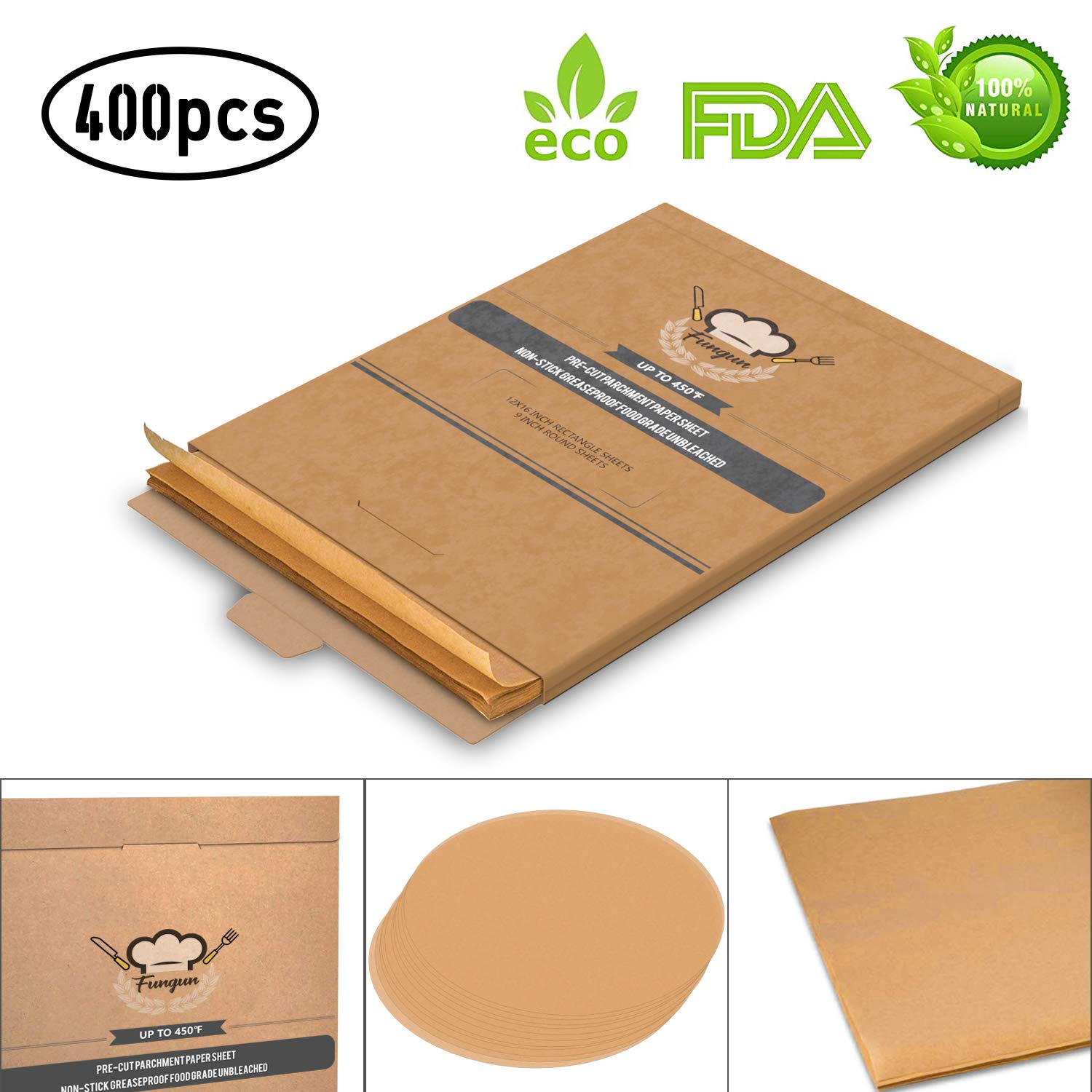 """Fungun Unbleached Precut Parchment Paper, Non-Stick 200 Pcs 12x16"""" Rectangle & 200 Pcs 9"""" Round Baking Sheets for Grilling Air Fryer Steaming Bread Cake Cookie and More (Round and Rectangle Set)"""