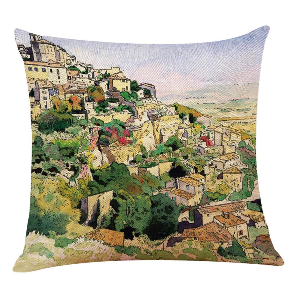Modern Throw Pillow Covers Square Linen Blend Pillow Case 3D Anime Scenery Printing Decorations Cushion Cover 18x18 inch for Home Sofa Car Daily Decor (A)