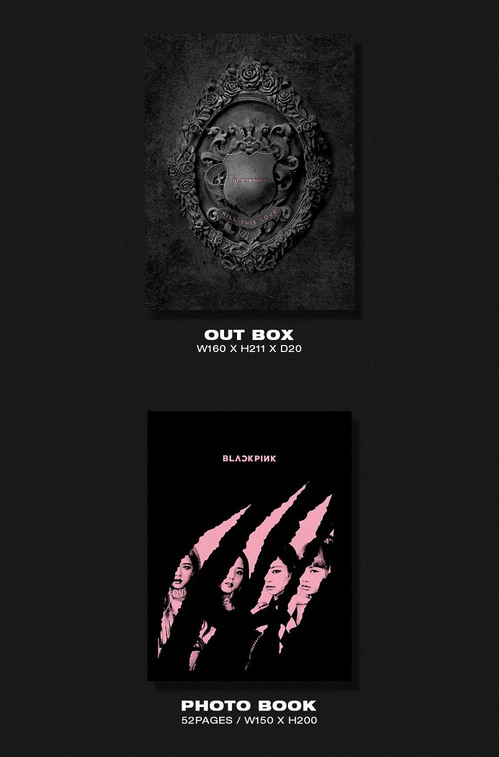 KILL THIS LOVE Y/&G BLACKPINK 2nd Mini Album BLACK ver. CD+52p Photobook+Lyrics Book+4Photocards+Polaroid Photocard+Sticker Set+On Pack Poster+Folded Poster+Double Side Extra Photocards Set