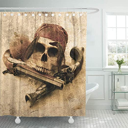 Halloween Shower Curtain set Pirate Skull with Playing cards and guns Curtain