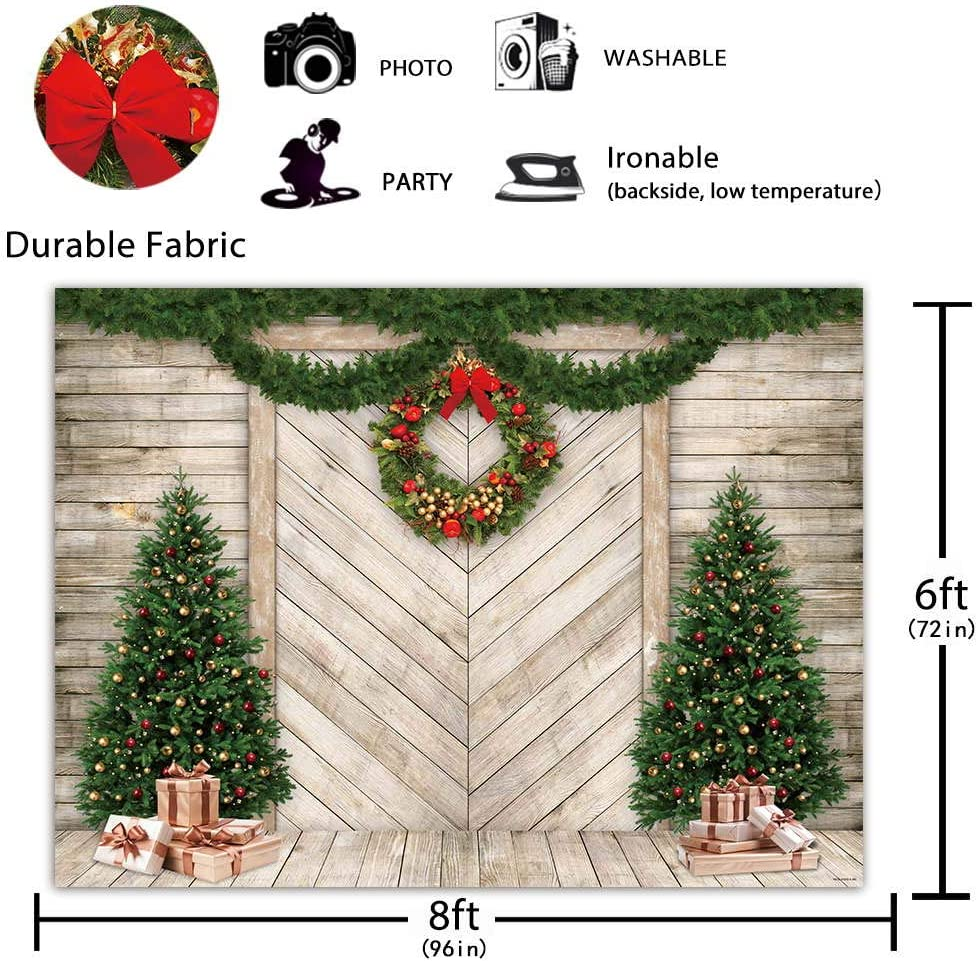 Green Christmas Wreath Background 6x8ft Wooden Planks Wall Polyester Photography Backdrop Fir Pine Tree Leaves Happy New Year Holiday Decor Children Portrait Shoot Wallpaper Kids Xmas Garland