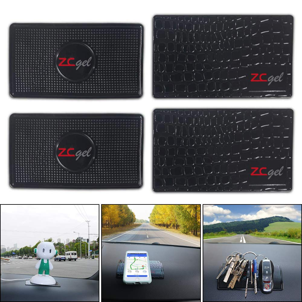 Removable and Reusable Universal Non-Slip Dashboard Mat for Cell Phones Sunglasses Black 4 Pack Coins and More Keys ZC GEL Sticky Gel Pad