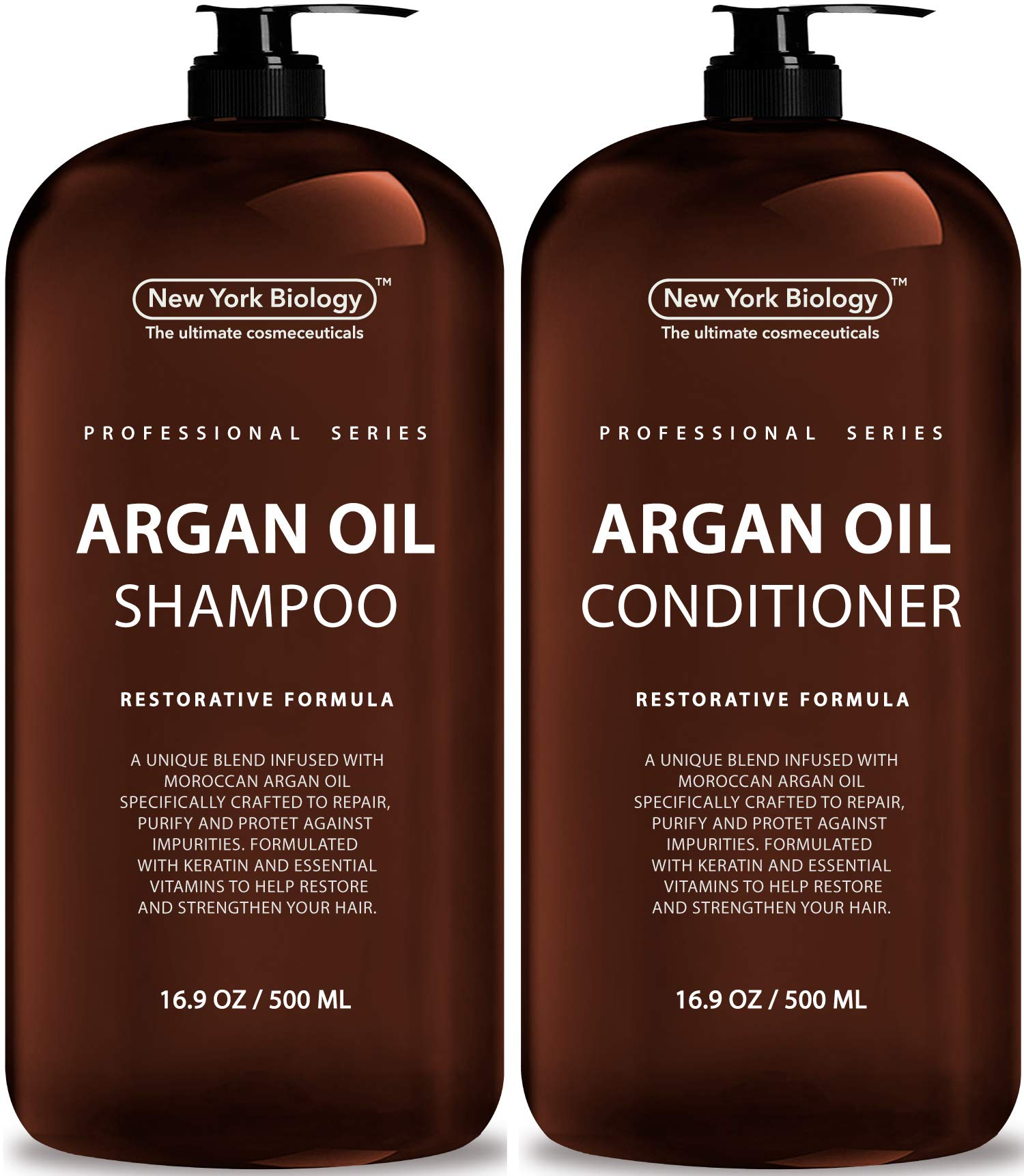 New York Biology Moroccan Argan Oil Shampoo and Conditioner - All Natural - Moisturizing and Volumizing Professional Series Restorative Formula - Infused with Keratin and Sulfate Free - Huge 16 oz by New York Biology