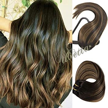 Clip in Human Hair Extensions Black to Chestnut Brown Highlight Dip Dyed  Balayage Ombre Hair Clip on Silky Straight Soft Thickened Double Weft Hair