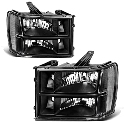 AUTOSAVER88 Headlight Assembly Compatible with 2007-2013 GMC Sierra 1500/2007-2014 Sierra 2500HD 3500HD Black Housing Clear Lens (Driver and Passenger Side): Automotive