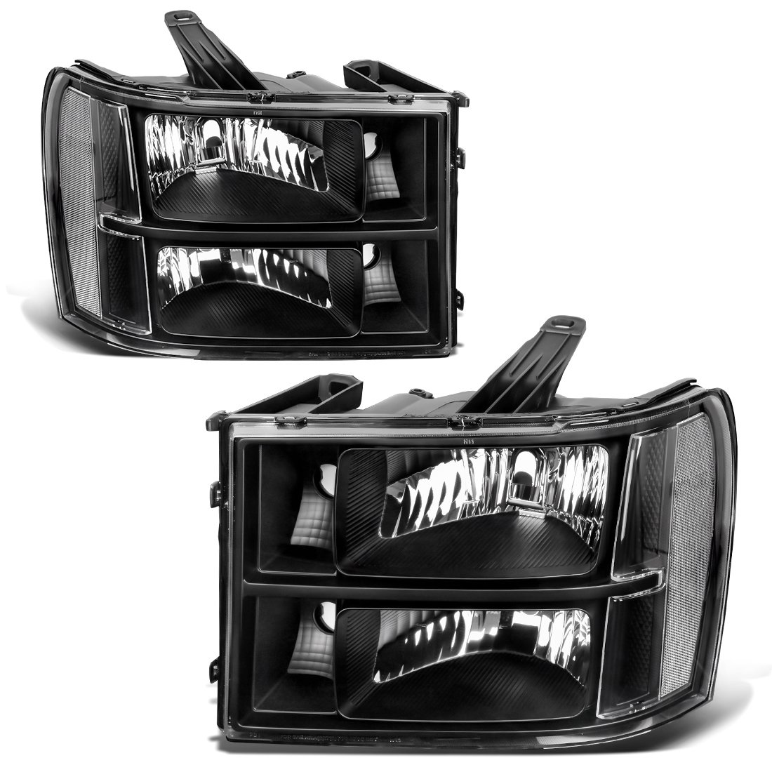 For 2007-2014 GMC Sierra 1500/2500HD/3500HD Headlight Assembly Headlamps Replacement Black Housing Clear Lens (Driver and Passenger Side)