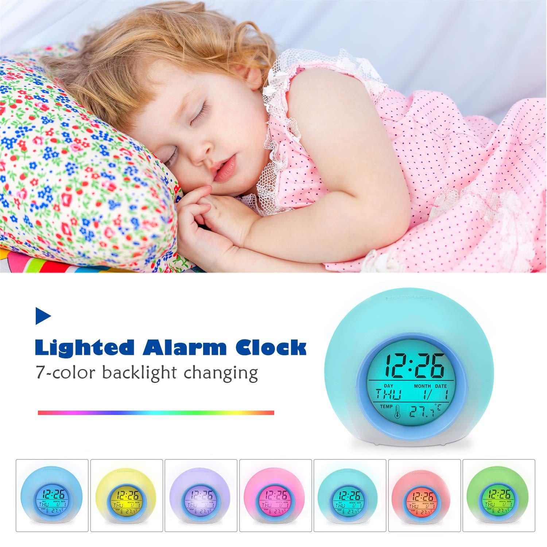 HAMSWAN Despertadores, [Regalo] Reloi Alarma, Clock, Despertadores Cambiado Entre 7 Colores con 8 Tonos, Tempreatura para Padres Estudios y Niños ect.