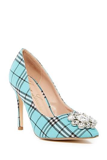 5d319cc2de60b Lauren Lorraine Giselle-2 Slip On Rhinestone Slim Heel Stiletto Teal Plaid  Pump (6