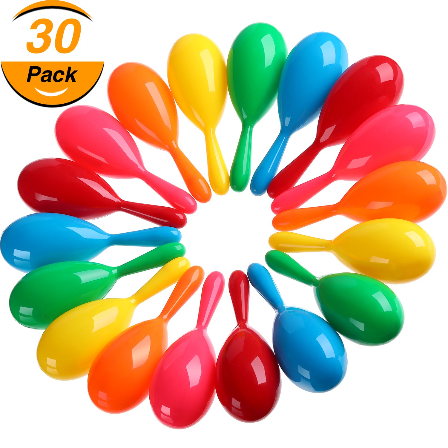 Hestya 30 Pieces Maracas Colorful Maracas Fiesta Maracas Plastic Maracas Pool Toys Noise-making Toys for Party Favors or Musical Instruments, 6 Colors