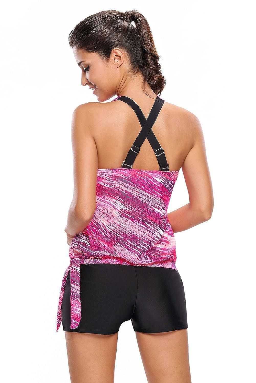 SMUDGE Life Womens Stripes Print Blouson Tankini Set Two Piece Swimsuit