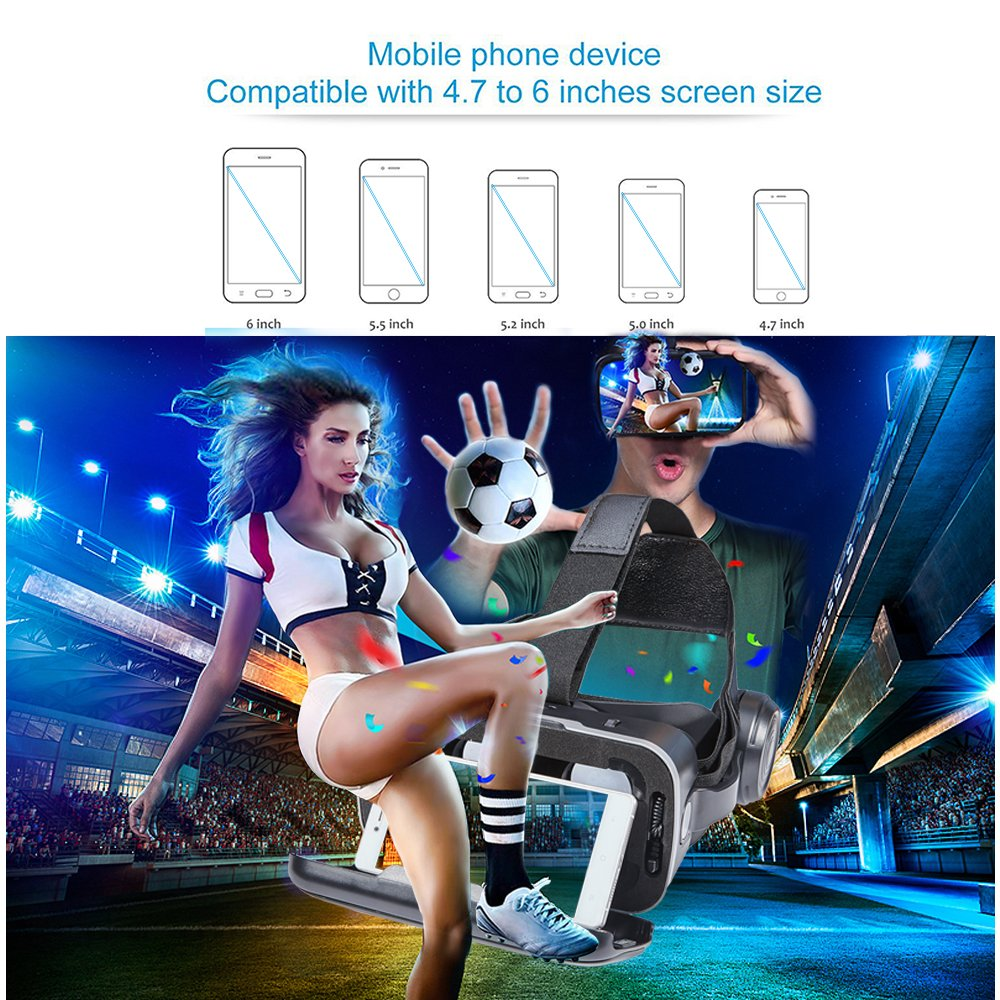 3D VR Glasses VR Virtual Reality with Bluetooth Remote Controller for 3D Games Movies& Lightweight with &Adjustable Pupil and Object Distance for Apple iPhone More Smartphones by EKIR (Image #7)