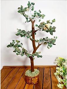 PYOR Green Aventurine Money Tree Reiki Healing Spiritual Home Decor Crystal Aura Cleansing Gift Item Chakra Balancing Silver Wire 10-12 inch