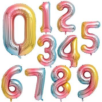 Globo Número Gigante en Metalizado Ideal para Fiesta de cumpleaños y Aniversarios - 110 cm - Hinchable (Arco Iris, 1)