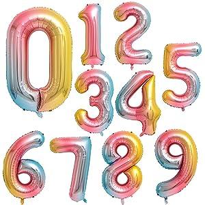 Globo Número Gigante en Metalizado Ideal para Fiesta de cumpleaños y Aniversarios - 110 cm - Hinchable (Arco Iris, Número 0)