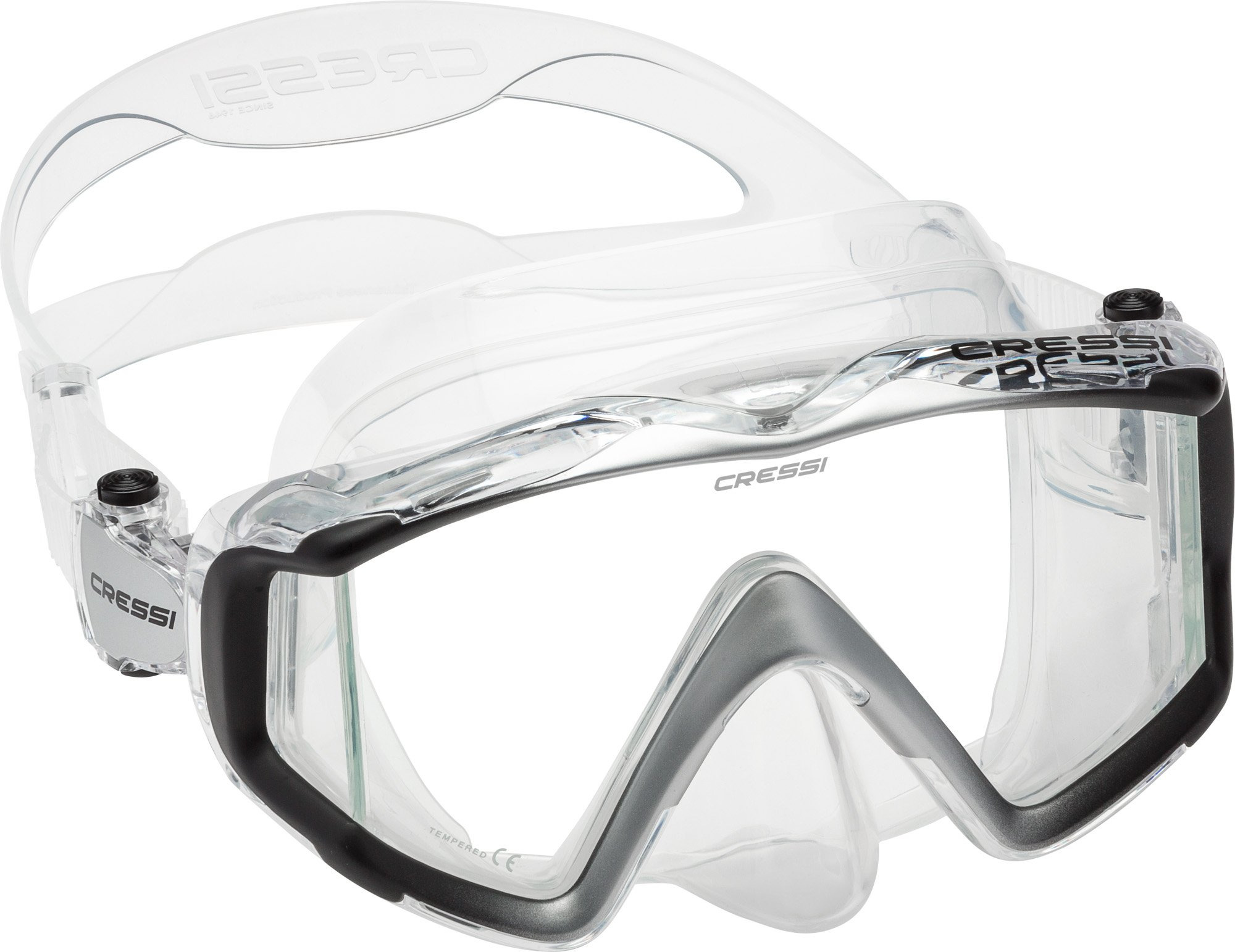 Cressi Liberty Triside Spe Diving Mask, Clear/Black/Silver