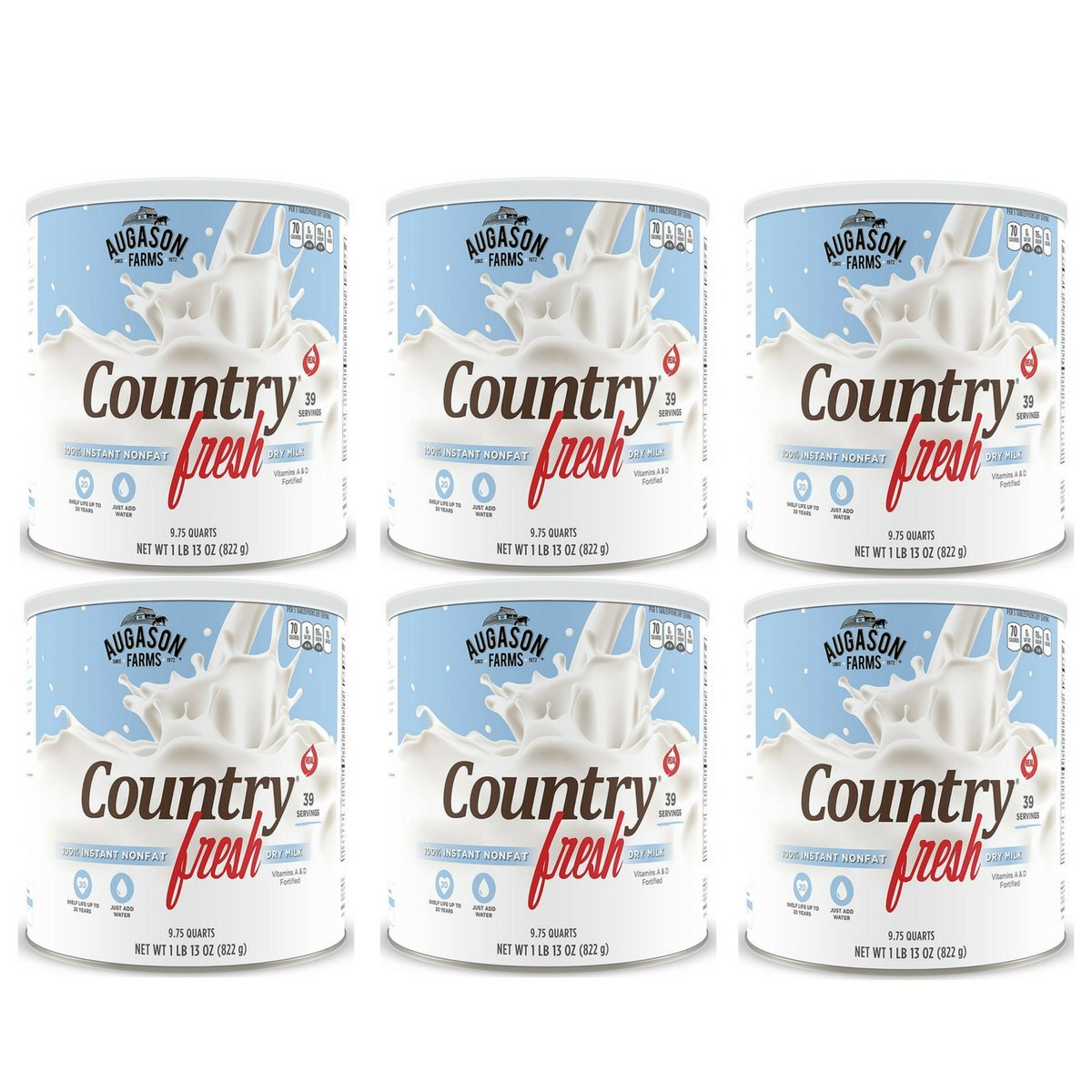 Augason Farms, Country Fresh 100% Real Instant Nonfat Dry Milk, 1lb 13oz (Pack of 6)