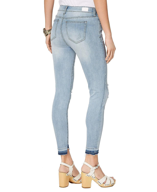 Celebrity Pink Juniors Ripped Released-Hem Skinny Jeans