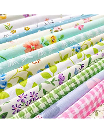 tbpersicwT 50Pcs 10x10cm Floral Patchwork Cotton Fabric Plain Cloth for DIY Sewing Quilting Sewing Fabric Green
